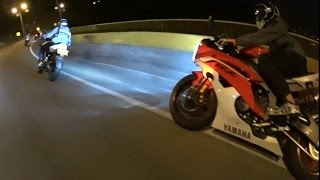 getlinkyoutube.com-Noche de Carreras || Pulsar 200 NS, KTM Duke 200, Yamaha R6