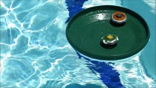 getlinkyoutube.com-Beyblade WATER BATTLE! Fake gravity persius 135MB VS Fake rock aries 125MS