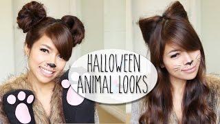 getlinkyoutube.com-DIY Halloween Costume Ideas | Bear & Cat Ears Hairstyle & Makeup Tutorial