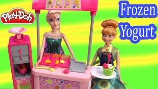 getlinkyoutube.com-Frozen Fever Queen Elsa Princess Anna Disney Barbie Doll Malibu Ave Yogurt Playdoh Food Playset