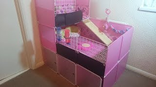 getlinkyoutube.com-How to build Guinea Pig 2x3 C&C cage with stand and loft PINK DIY