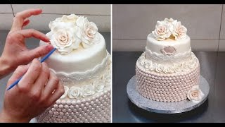 getlinkyoutube.com-Roses & Pearls Cake - Wedding Cake Idea