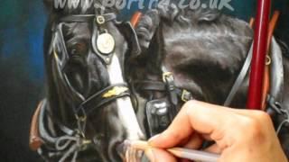 getlinkyoutube.com-Speed painting - Shire horses in pastel