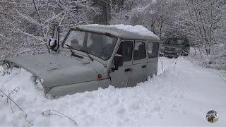 getlinkyoutube.com-УАЗ, Нива и Шеви Нива в лесу по глубокому снегу. Часть 1.