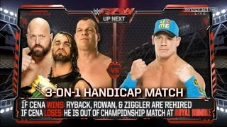 getlinkyoutube.com-Handicap Match: John Cena VS Big Show, Kane & Seth Rollins.19/01/15