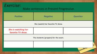 Present Progressive Tense, Present Continuous Video Lesson