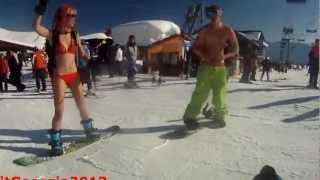 getlinkyoutube.com-Bikini Girl Ski & Snowboarding in Gudauri (Georgia) HD
