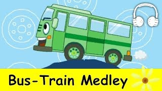 getlinkyoutube.com-Wheels on the Bus &  Bus Train Medley | Nursery Rhymes Collection