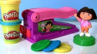 getlinkyoutube.com-Play Doh Dora the Explorer Fun Factory Machine Dough Maker Nickelodeon Fabrica Loca - Le Serpentin