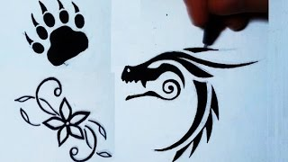 getlinkyoutube.com-Drawing 3 Simple Tattoos: Flower, Bear Paw, Dragon