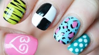 getlinkyoutube.com-How to: 5 x nail-art ♥ Beautygloss logo ♥ tijger ♥ Louis Vuitton ♥ Panter ♥ polkadot