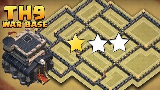 "getlinkyoutube.com-Clash Of Clans - ""EPIC!"" TH9 ANTI 3 STAR WAR BASE! / CoC TOWN HALL 9 TROPHY BASE DEFENSE 2016!"