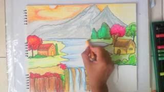 getlinkyoutube.com-beautiful scenery drawing for kids