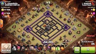 getlinkyoutube.com-Best war attack strategy on town hall 9 four corner internet base (4 corner base) - clash of clans
