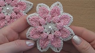 getlinkyoutube.com-Crochet flower tutorial  VERY EASY