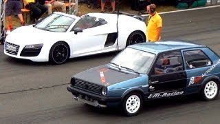 Audi R8 V10 SPYDER vs VW GOLF 2 R32 Turbo