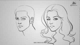 how to draw a male and female face youtube