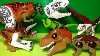getlinkyoutube.com-Hybrid Dinosaur Toys  - Lego Jurassic World Mutant Dinosaurs - Indominus Rex, Triceratops, T Rex