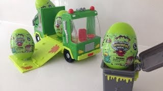 getlinkyoutube.com-Trash Pack Surprise Eggs with cool Trashies and ooze for kids parties, Kinder Surprise