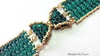 getlinkyoutube.com-Tutorial come fare un bracciale a fiocco con perline superduo / twin  braccialetto Papillon