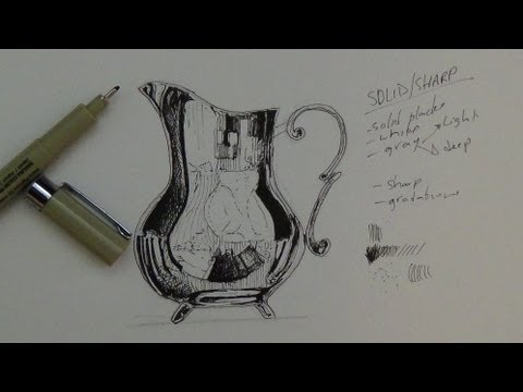 Pen & Ink Drawing Tutorial | How to render a pitcher that's chrome, shiny metal or glass