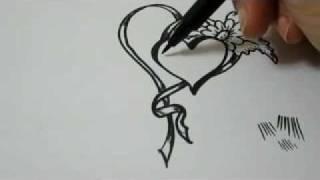 getlinkyoutube.com-How To Draw Hearts, Flowers and Ribbon