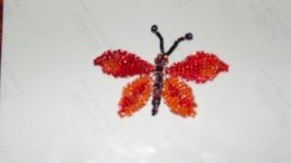 getlinkyoutube.com-DIY Tutorial de mariposa grande de chaquiras / mostacillas 2 de 3