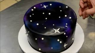 getlinkyoutube.com-How to make a Galaxy Theme Birthday Cake - Simple & Easy Technique