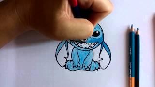 getlinkyoutube.com-สอนวาดรูป ระบายสี การ์ตูน Stitch ท่านั่ง วาดการ์ตูนกันเถอะ