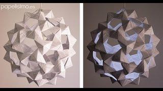 getlinkyoutube.com-Lámpara de papel origami (icosaedro truncado)
