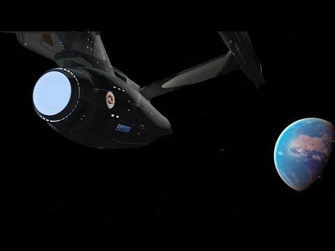 Star Trek Starship Enterprise rendezvous with shuttle craft CGI animation.