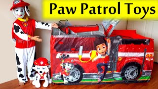 getlinkyoutube.com-2015 GIANT Paw Patrol Marshall FIRE TRUCK TENT Filled with Paw Patrol Surprise Toys