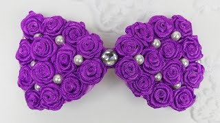 DIY Hair Bow I Ribbon Roses Bow Tutorial I How to make hairbow I DIY ribbon roses