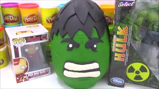 getlinkyoutube.com-Giant Hulk Playdoh Surprise Egg with Marvel Transformers and TMNT toys!