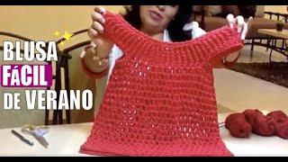 getlinkyoutube.com-Blusa para verano - tejido con dedos - Tejiendo con Laura Cepeda