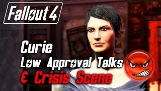 Fallout 4 - Curie - All Low Approval Talks & Crisis Scene (Curie Leaves Forever)