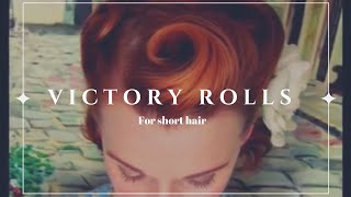 getlinkyoutube.com-Victory Rolls on Short (Bobbed) Hair...1940's Reverse Rolls Hairstyle