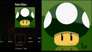 getlinkyoutube.com-Call of Duty Black Ops 2 Emblem Editor Tutorials - Black Ops 2 - Best Green 1 UP Mushroom Reflecting Emblem Tutorial ( Super Mario Bros ) Playercard