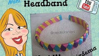 getlinkyoutube.com-Como hacer un Cintillo de 4 Cintas - How to make a headband | Creations Nani