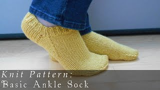 getlinkyoutube.com-Basic Ankle Sock  |  Knit Pattern