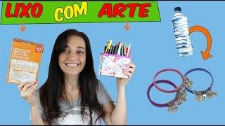 getlinkyoutube.com-Lixo com Arte Pulseira de Garrafa Pet e Porta lápis de caixa de Papelão