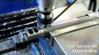getlinkyoutube.com-1911 barrel holes on CNC milling machine - Barrel Porting