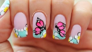 getlinkyoutube.com-Decoracion de uñas mariposas - Butterfly nail art tutorial