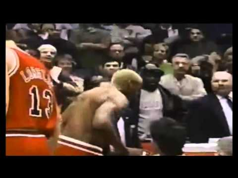 Dennis Rodman headbutts the referee.