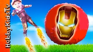 getlinkyoutube.com-Biggest SURPRISE Iron-Man Egg! Flying Kids + Disney Playmation Infinity Hulk HobbyKidsTV