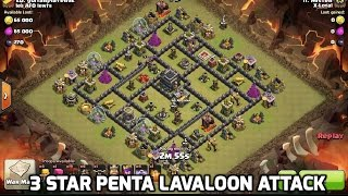 getlinkyoutube.com-3 Star TH9 Penta Hound Laloon Lavaloon attack, clash of clans clan war.