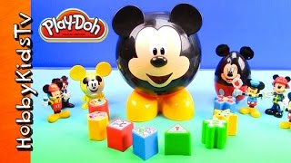 PLAY-DOH Disney Mickey Mouse Clubhouse! Mickey's Shapes Cat Woman Makeover Pez Candy by HobbyKidsTV