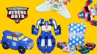 getlinkyoutube.com-Transformers Rescue Bots Chase the Police Bot from Playskool + Optimus Prime Bumblebee and Blades