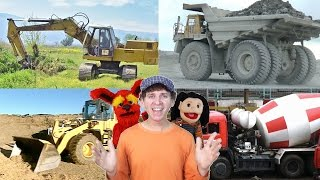 getlinkyoutube.com-Learn  Construction Vehicles Song | Real Dump Truck, Bulldozer, Excavator | Learn English Kids