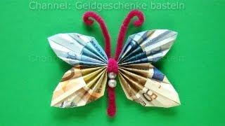 getlinkyoutube.com-Geldscheine falten Schmetterling: Geldgeschenke basteln. Geld falten Schmetterling. Origami Tiere